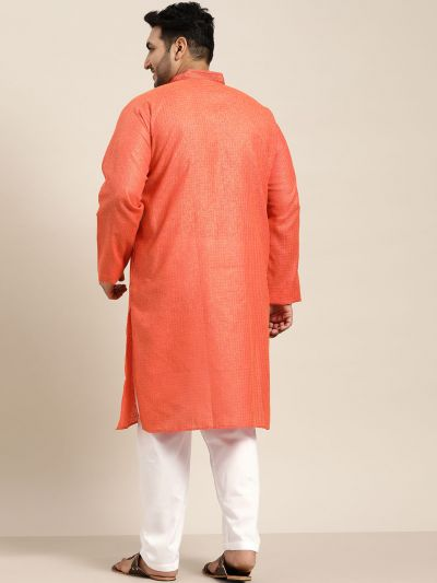 Sojanya (Since 1958), Men's Cotton Coral checked Kurta with White Churidar Pyjama Set
