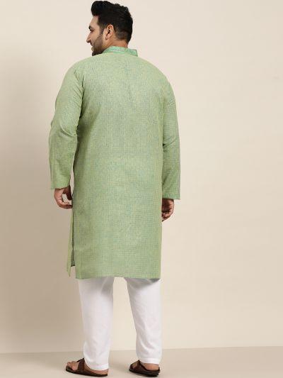 Sojanya (Since 1958), Men's Cotton Dark Green checked Kurta with White Churidar Pyjama Set