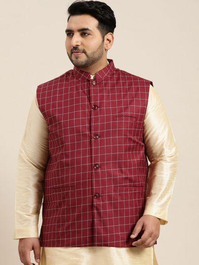 Sojanya (Since 1958), Men's Cotton Blend Maroon Checked Nehru Jacket