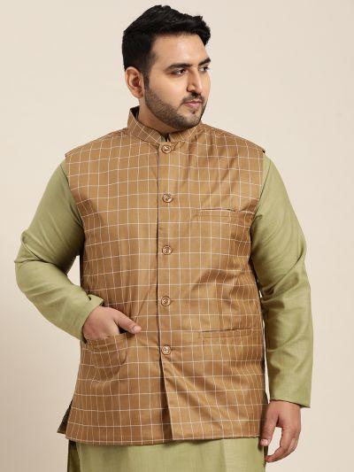 Sojanya (Since 1958), Men's Cotton Blend Brown Checked Nehru Jacket