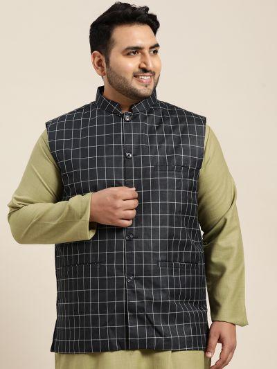 Sojanya (Since 1958), Men's Cotton Blend Navy Blue Checked Nehru Jacket