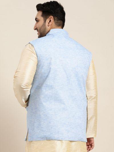 Sojanya (Since 1958) Men's Cotton Linen Blend Blue Nehru Jacket