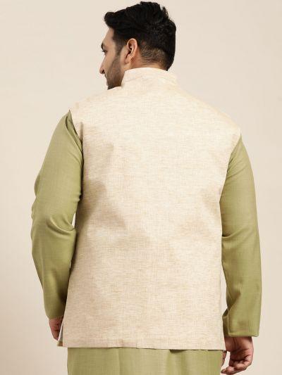 Sojanya (Since 1958) Men's Cotton Linen Blend Light Brown Nehru Jacket