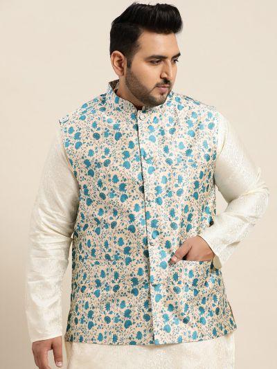 Sojanya (Since 1958), Men's Silk Blend Blue Printed Nehru Jacket