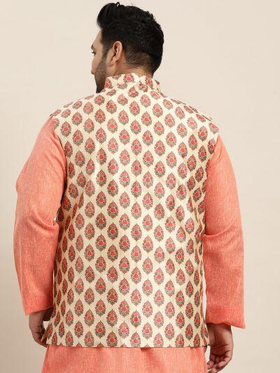Sojanya (Since 1958), Men's Silk Blend Maroon Printed Nehru Jacket