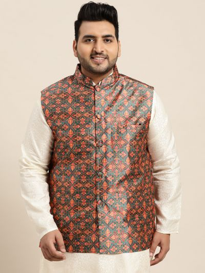 Sojanya (Since 1958), Men's Silk Blend Dark Green Printed Nehru Jacket