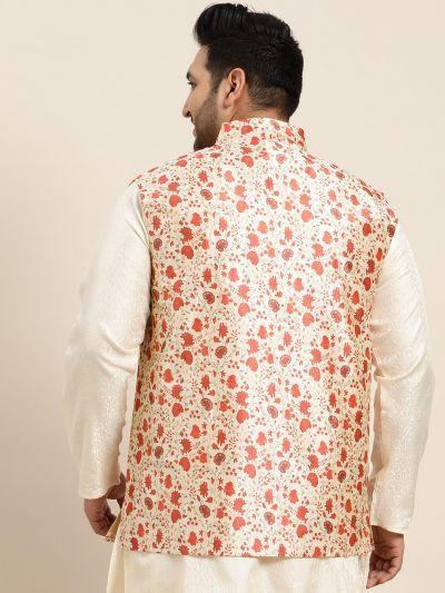 Sojanya (Since 1958), Men's Silk Blend Red Printed Nehru Jacket