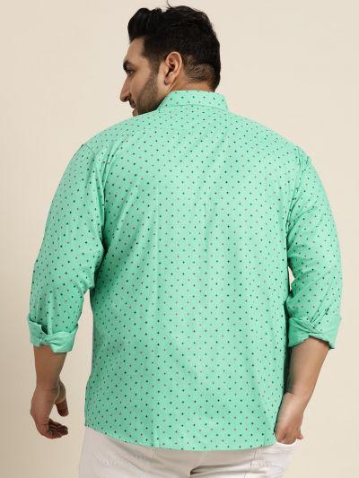 Sojanya (Since 1958), Mens Cotton Blend Sea Green & Black Printed Casual Shirt