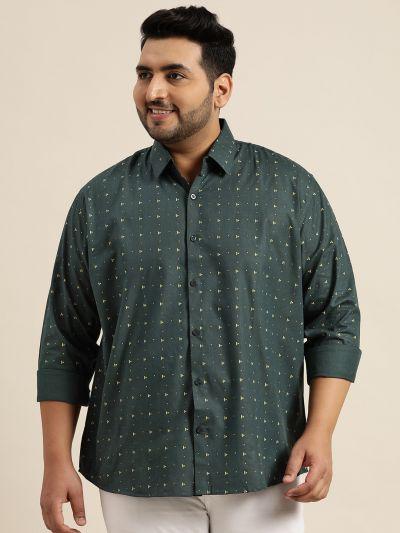 Sojanya (Since 1958), Mens Cotton Blend Olive Green & Yellow Printed Casual Shirt