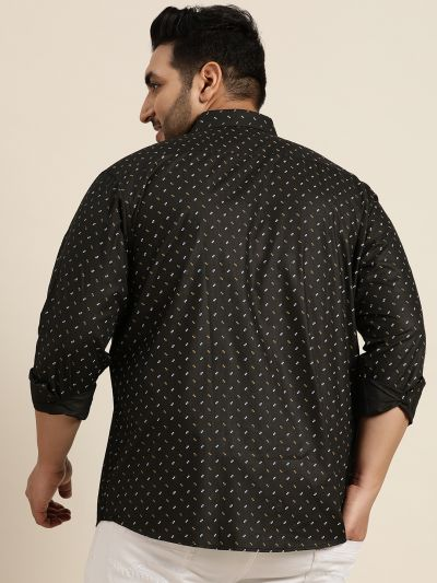Sojanya (Since 1958), Mens Cotton Blend Black & Beige Printed Casual Shirt