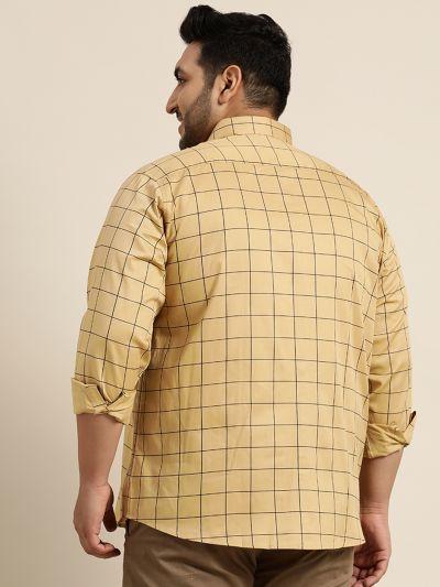 Sojanya (Since 1958), Men's Cotton Beige Casual Shirt