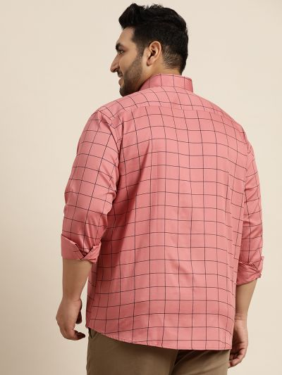 Sojanya (Since 1958), Men's Cotton Coral Casual Shirt