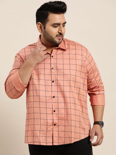 Sojanya (Since 1958), Men's Cotton Peach Casual Shirt
