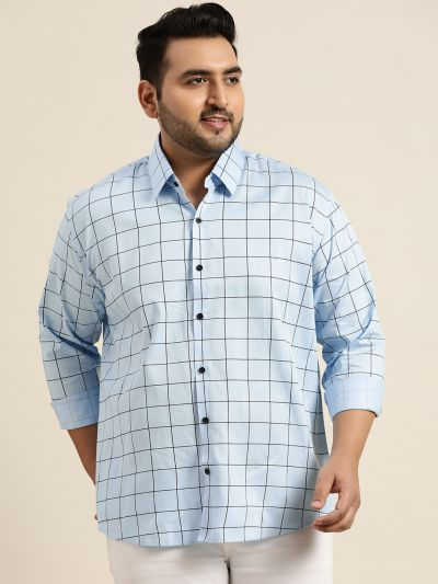 Sojanya (Since 1958), Men's Cotton Sky Blue Casual Shirt