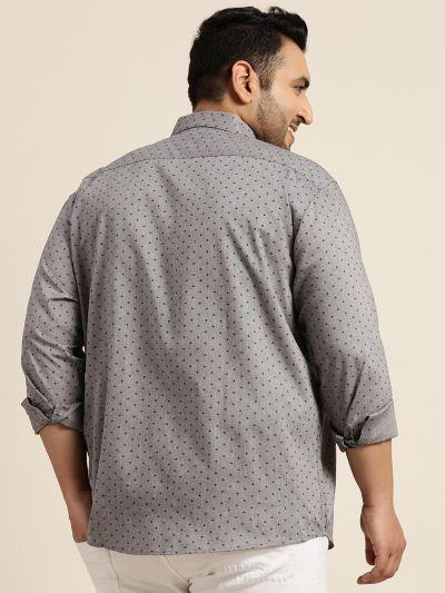 Sojanya (Since 1958), Mens Cotton Grey & Black Printed Casual Shirt