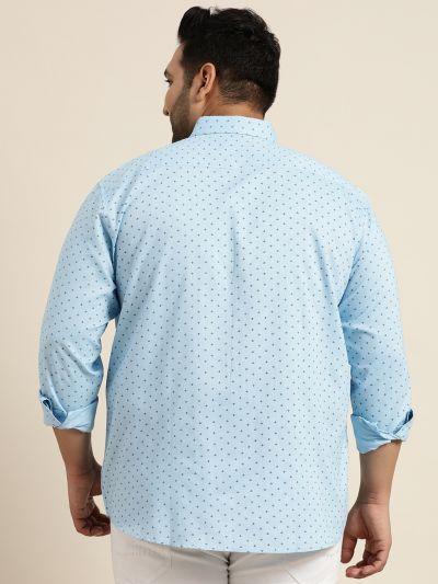 Sojanya (Since 1958), Mens Cotton Sky Blue & Black Printed Casual Shirt