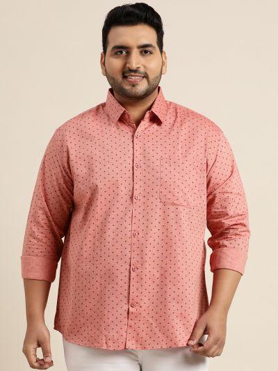 Sojanya (Since 1958), Mens Cotton Coral Red & Black Printed Casual Shirt