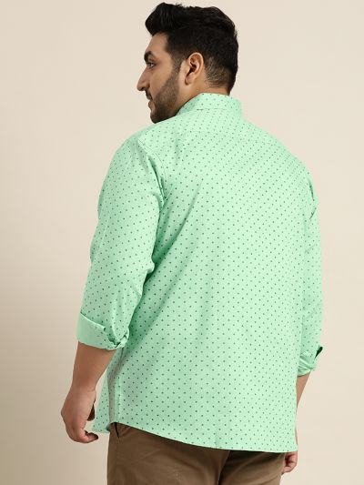 Sojanya (Since 1958), Mens Cotton Green & Black Printed Casual Shirt