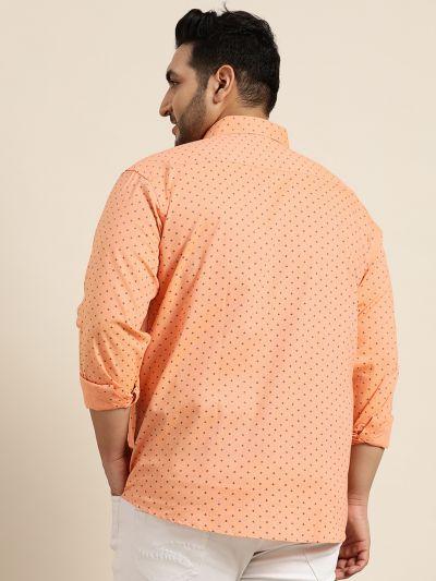 Sojanya (Since 1958), Mens Cotton Peach & Black Printed Casual Shirt