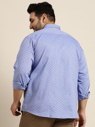 Sojanya (Since 1958), Mens Cotton Blue & Black Printed Casual Shirt