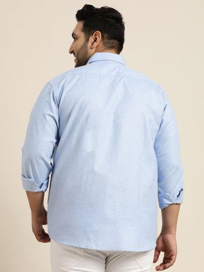 Sojanya (Since 1958), Men's Cotton Linen Blue Casual Shirt