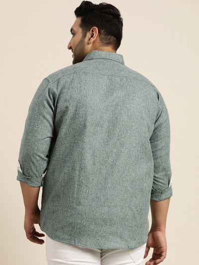 Sojanya (Since 1958), Men's Cotton Linen Bottle Green Casual Shirt