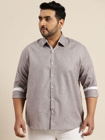 Sojanya (Since 1958), Men's Cotton Linen Coffee Brown Casual Shirt