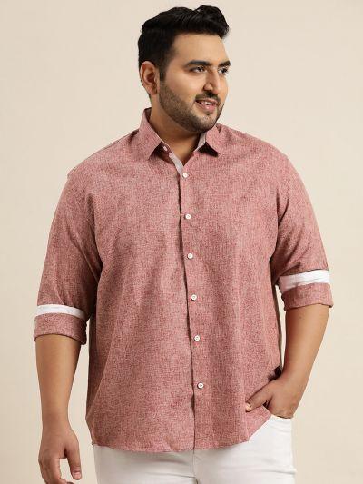 Sojanya (Since 1958), Men's Cotton Linen Maroon Casual Shirt
