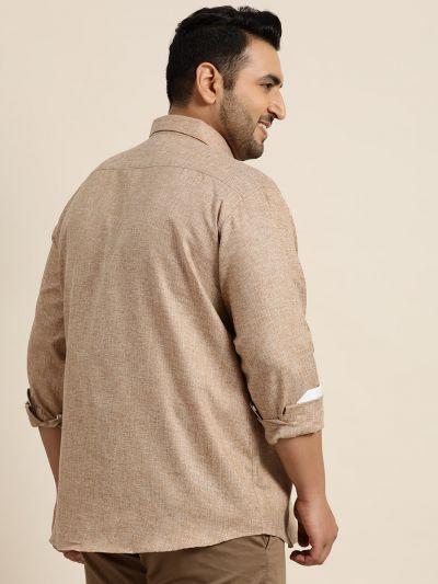 Sojanya (Since 1958), Men's Cotton Linen Brown Casual Shirt