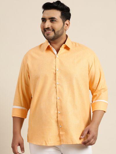 Sojanya (Since 1958), Men's Cotton Linen Dark Yellow Casual Shirt