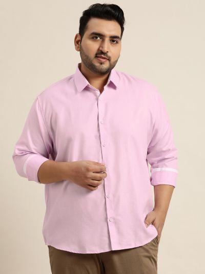 Sojanya (Since 1958), Men's Cotton Linen Purple Casual Shirt