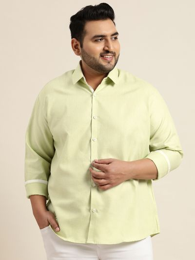 Sojanya (Since 1958), Men's Cotton Linen Lime Green Casual Shirt