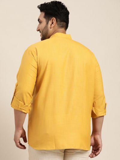 Sojanya (Since 1958), Men's Cotton Mustard Short Kurta