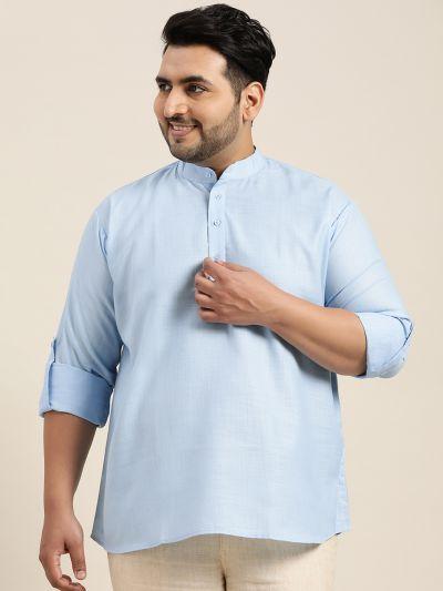 Sojanya (Since 1958), Men's Cotton Blue Short Kurta
