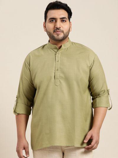 Sojanya (Since 1958), Men's Cotton Pista Green Short Kurta