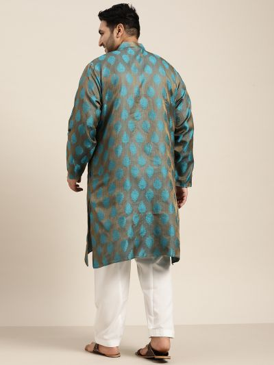 Sojanya (Since 1958) Men's Jacquard Silk Teal Blue Kurta & Off-White Churidar Pyjama Set