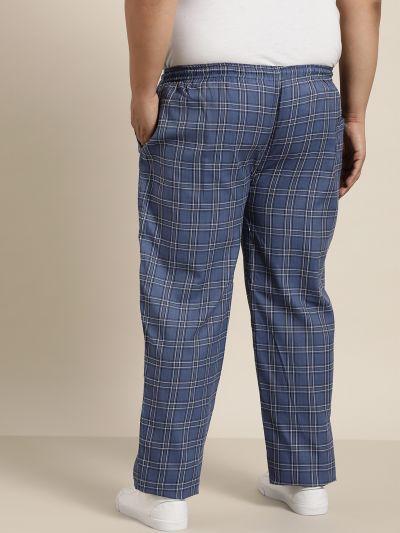 Sojanya (Since 1958), Men's Cotton Navy Blue & White Checked Track Pant