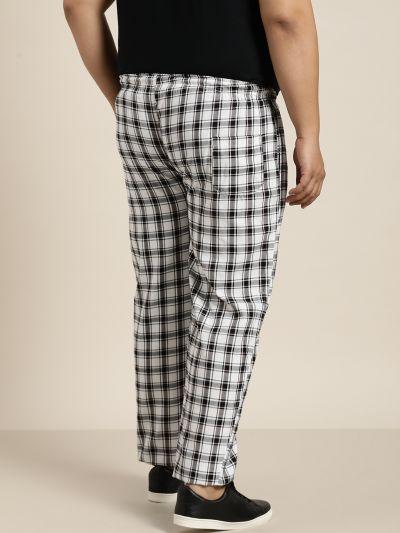 Sojanya (Since 1958), Men's Cotton White & Black Checked Track Pant