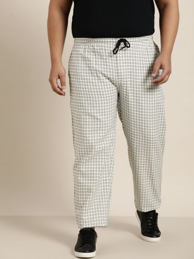 Sojanya (Since 1958), Men's Cotton Sea Green & White Checked Track Pant