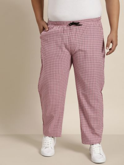 Sojanya (Since 1958), Men's Cotton Pink & White Checked Track Pant