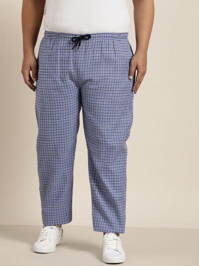Sojanya (Since 1958), Men's Cotton Blue & Black Checked Track Pant