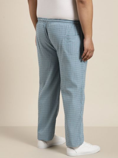 Sojanya (Since 1958), Men's Cotton Grey & White Checked Track Pant