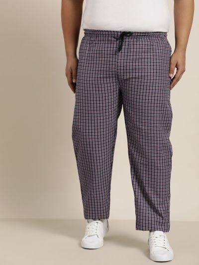 Sojanya (Since 1958), Men's Cotton Navy Blue & Red Checked Track Pant