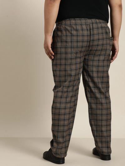 Sojanya (Since 1958), Men's Cotton Brown & Black Checked Track Pant