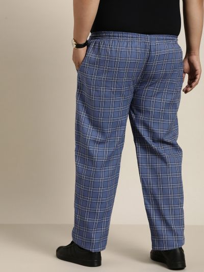 Sojanya (Since 1958), Men's Cotton Navy Blue & Black Checked Track Pant