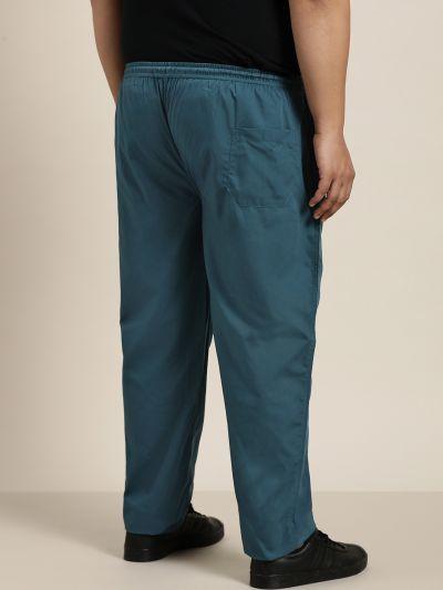 Sojanya (Since 1958), Men's Cotton Teal Blue Solid Track Pant