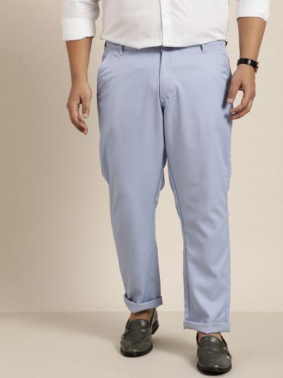 Sojanya (Since 1958) Men's Cotton Blend Blue Solid Trousers