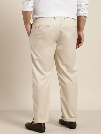 Sojanya (Since 1958) Men's Cotton Blend Beige Solid Trousers