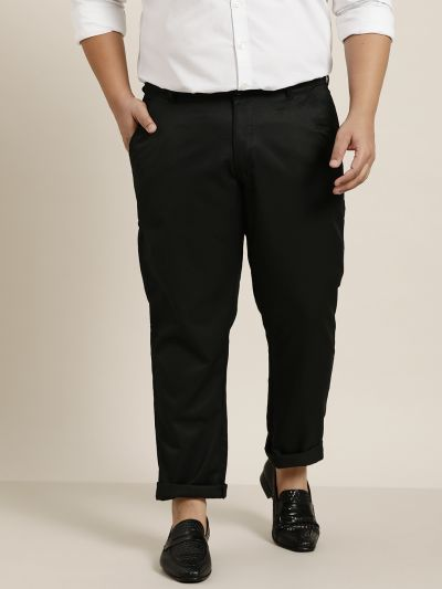 Sojanya (Since 1958) Men's Cotton Blend Black Solid Trousers