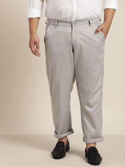 Sojanya (Since 1958) Men's Cotton Blend Grey Solid Trousers